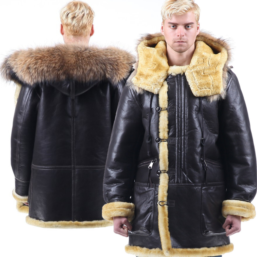 B3 shearling Bomber Fur military pilot World II Flying aviation air Leather jacket Environmental protection of leather Men's B7