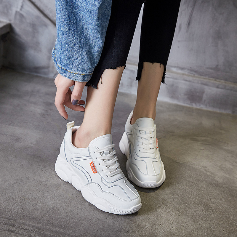 Women s Chunky Sneakers 2019 Spring Autumn Genuine Leather Shoes For Woman Hidden Heel White Sneakers