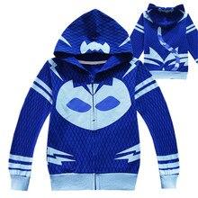 PJ mask hero of children cosplay costume and cosplay costume Children sweatshirt hoodies zipper jacket sweater jacket Free PJ