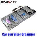 Acessórios de Estilo de carro Universal de Couro Croco CD Pala de Sol Óculos de Condução Cartão de Licença De Armazenamento Organizador Caso Titular
