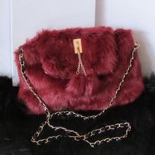 2016 autumn and winter soft fur internal interval crossbody bag/single Shoulder women Messenger Bag/chains lock claret black bag