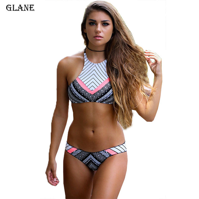 New Design Biquini High Neck Swimwear Women Sexy Push Up Bikini Set Retro Vintage Print Swimsuits Brazilian Bathing Suits 1