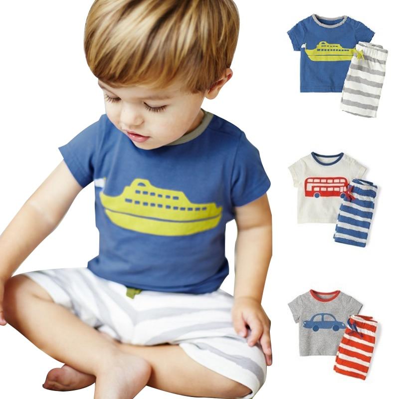 b5af7efe8 Click here to Buy Now!! العلامة التجارية الصيف الأطفال الفتيان الملابس  مجموعة 100% القطن ...