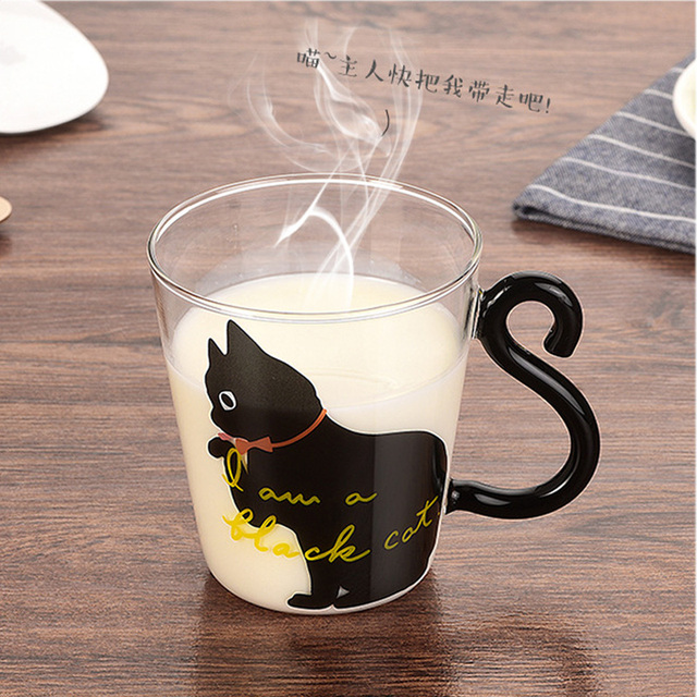 Cute Creative Cat Kitty Glass Mug Cup Tea Cup Milk Coffee Cup Cartoon Kitten /Little black cat Home Office Cup Fruit Juice 4