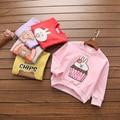 Primavera 2017 Niñas sudadera camiseta del bebé impresión de Algodón animal de la historieta ropa de los niños al por mayor