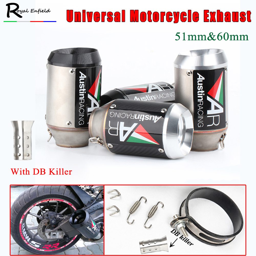 Universal 51//60m Exhaust Muffler Steel Pipe With Silencer For Motorcycle Scooter