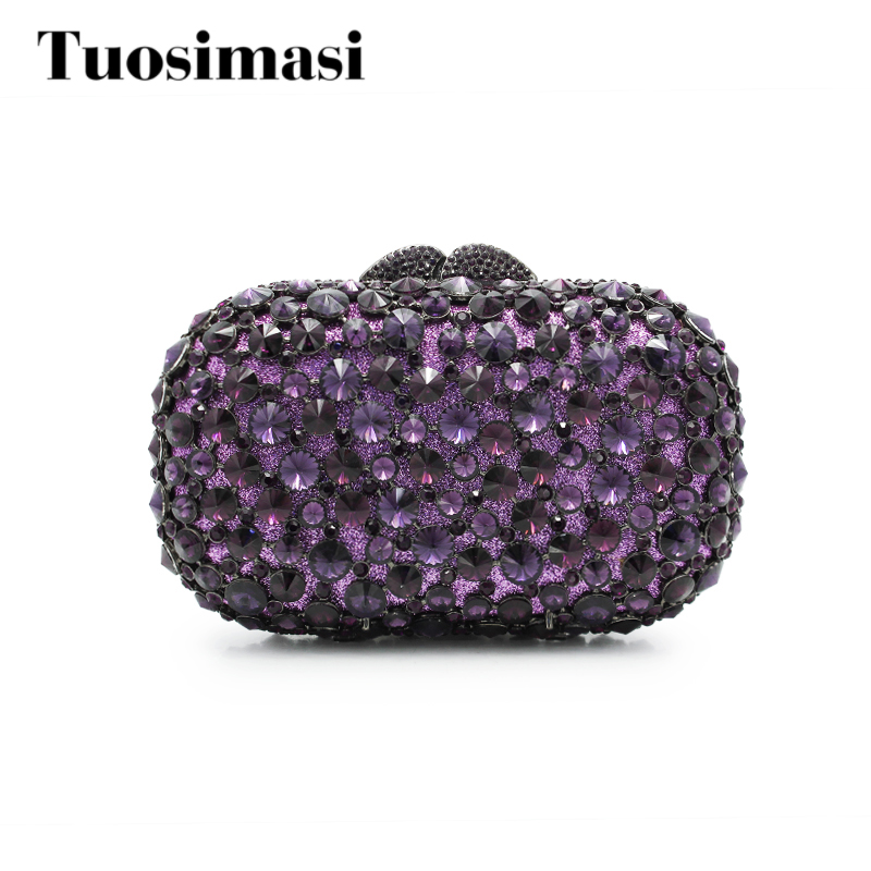 Purple Crystal Clutch Evening Bags For Women Mini Handbags Hollow Out Diamond Party Wedding Clutch Bridal Party Bag(8646A-S)