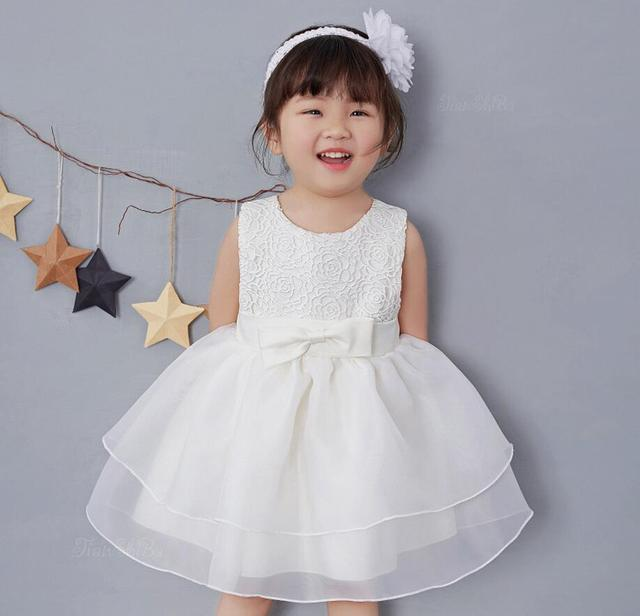 56a488a6a5f 1PC Pink Off White Red Baby Girl Lace Rose Flower Dresses Bow Princess  Wedding Party Christening Gown Dress for Newborn Baptism
