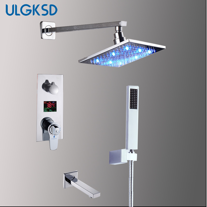 ULGKSD Bathroom LED Shower Faucet  Thermostatic Mixer Tap W/ Tub and Shower Sprayer Wall Mounted Bath Shower Set wall mounted two handle auto thermostatic control shower mixer thermostatic faucet shower taps chrome finish