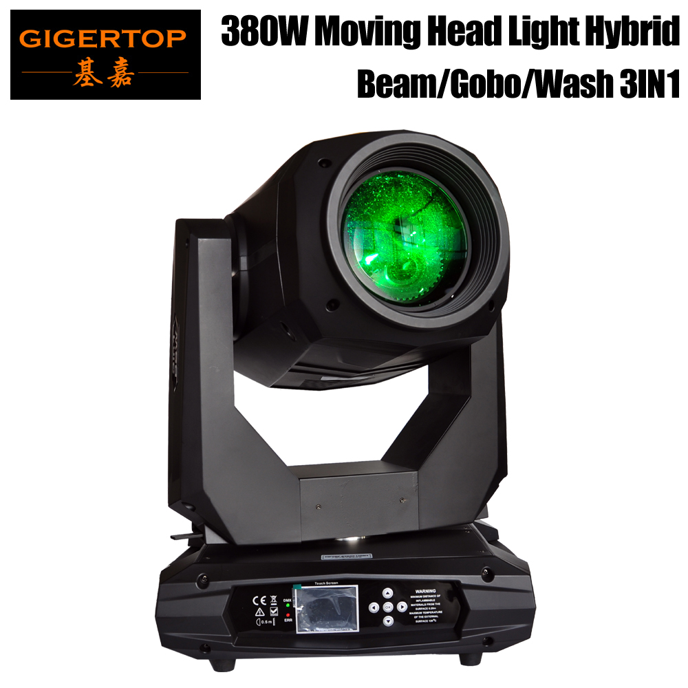 Gigertop New 380W 3IN1 Moving Head Light Beam Wash Spot Gobo 3 IN 1 Effect Professional Stage Lighting RDM Function Zoom Focus