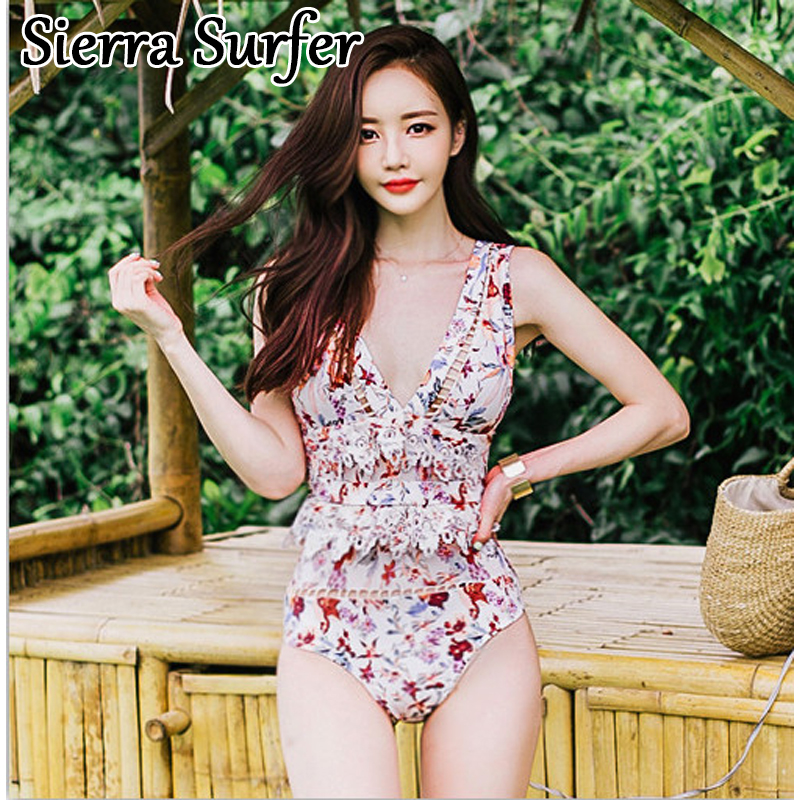 Swimming Suit For Women Ladies Swim Shorts Plus Size Swimwear Sexy One Piece Suits 2018 New Line Fan With Lace Hollow Badpak cheap sexy bathing suits swim suit one piece plus size swimwear womens wear 2017 new korean lovely woman lace triangle badpak