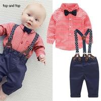 2015 Fashion Kids Clothes Grid Shirt Suspender Newborn Long Sleeve Baby Boy Clothes Bowknot Gentleman Suit