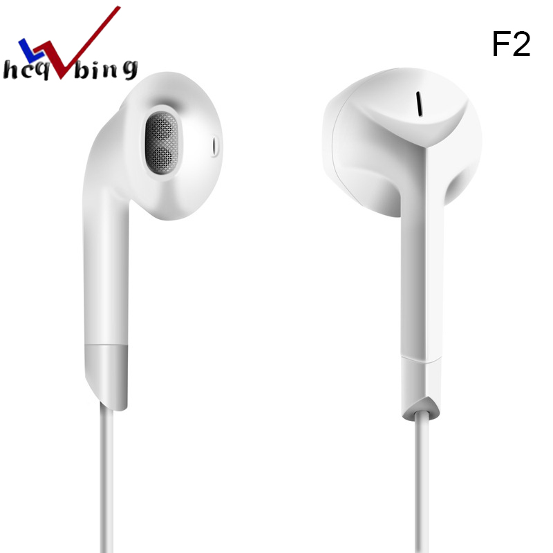HCQWBING F2 Original Brand E6C Earphone Stereo Headset Half In-ear Earbuds with Microphone for Apple iPhone Mobile Phone Xiaomi original senfer dt2 ie800 dynamic with 2ba hybrid drive in ear earphone ceramic hifi earphone earbuds with mmcx interface