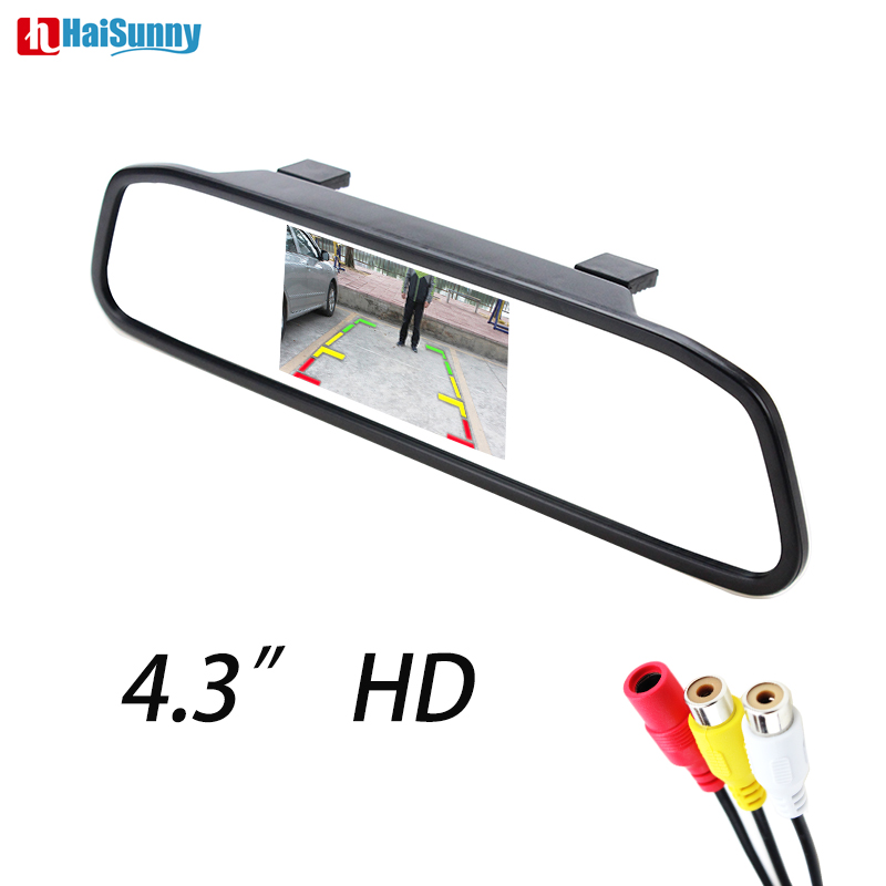 HaiSunny 4 3 Digital TFT LCD Mirror Car Parking Rear View Monitor With 2 Video Input