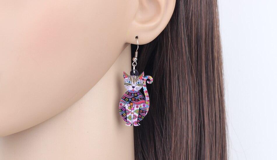 Multicolored Floral Cat Kitten Shaped Drop Earrings