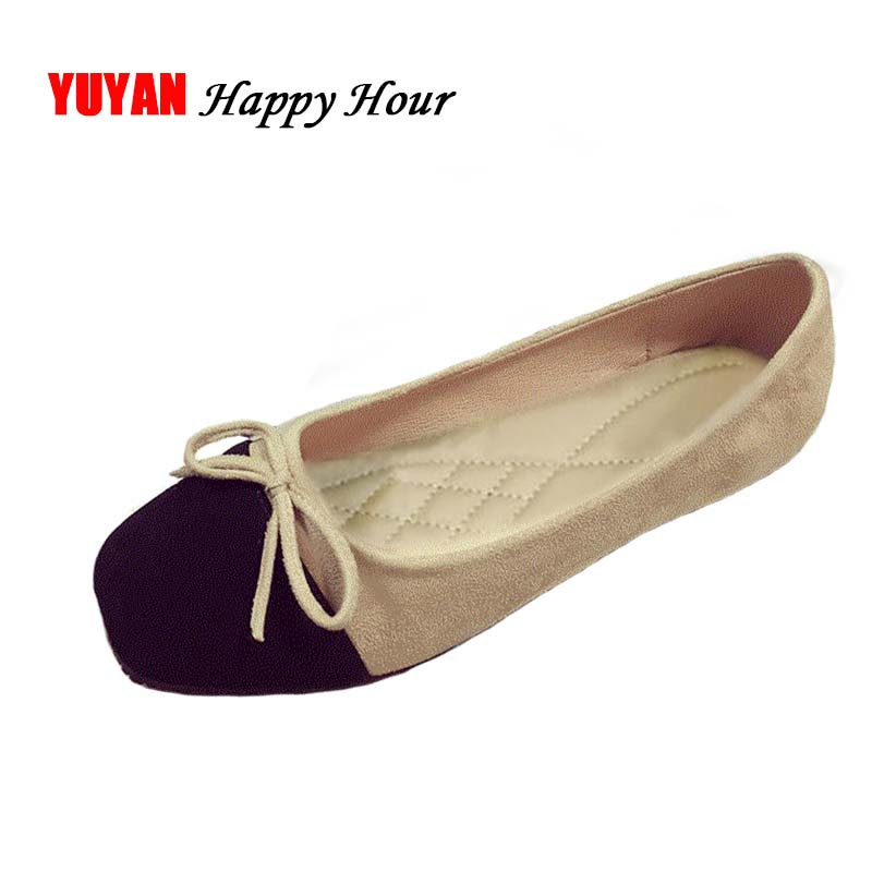 New 2018 Fashion Ballet Flats Women Square toe Flat Heel Soft Shoes Elegant Bowknot Women's Flats Ladies Brand Shoes ZH2506 odetina 2017 new designer lace up ballerina flats fashion women spring pointed toe shoes ladies cross straps soft flats non slip