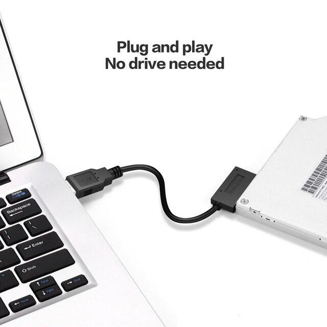 Usb 2.0 미니 sata ii sata2.0 7 + 6 13pin 어댑터 컨버터 케이블 컴퓨터 pc 노트북 cd dvd rom 드라이브 슬림 라인 sata 케이블