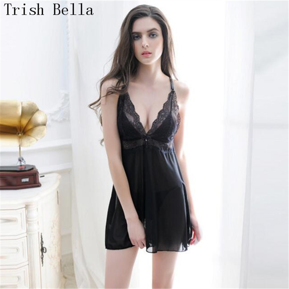 Trish Bella 2018 Lace transparent Camisole Extensible Mosaic Nightdress porn sexy lingerie sexy underwear lenceria erotic porno in Babydolls Chemises from Novelty Special Use