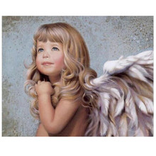 DIY Pure Angel Digital Oil Painting By Numbers With Frame Home Decor Wall Art Pictures For Living Room Coloring Paint By Number(China)