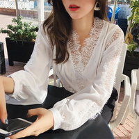 Mishow women blouses 2019 Fashion Chiffon lace shirt New Lantern sleeve Patchwork Women blouse Tops Casual White shirt MX18C4822