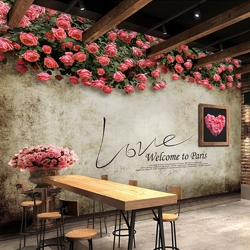 Custom 3D Photo Wallpaper Romantic Rose Flower Vine Backdrop Mural Retro Cafe Restaurant Living Room TV Background Wall Paper 3D custom poster photo wallpaper retro nostalgia 3d cartoon car graffiti mural wallpaper for living room tv backdrop wall paper