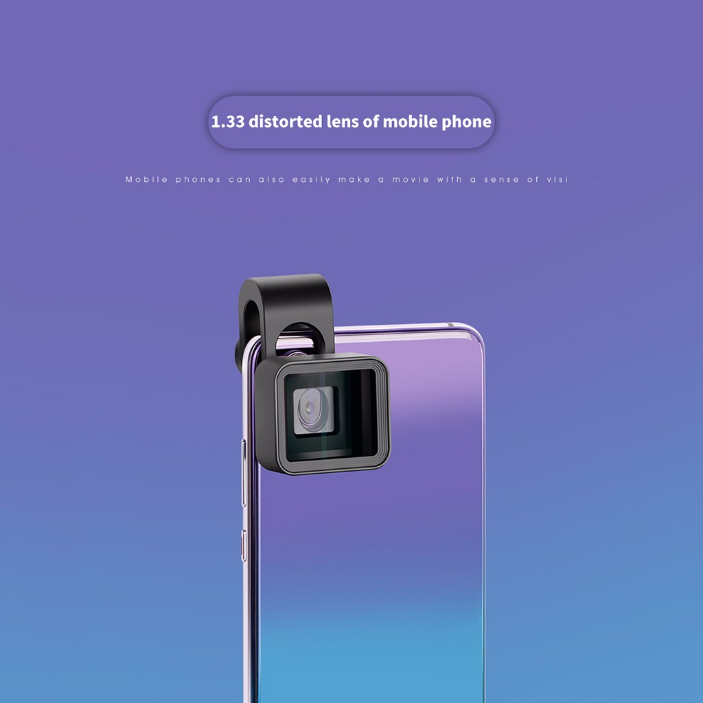 Upgrade Version 1.33X Deformation Mobile Phone Lens Universal Clip Widescreen Movie Wide-Angle Camera Lens for iPhone Samsung