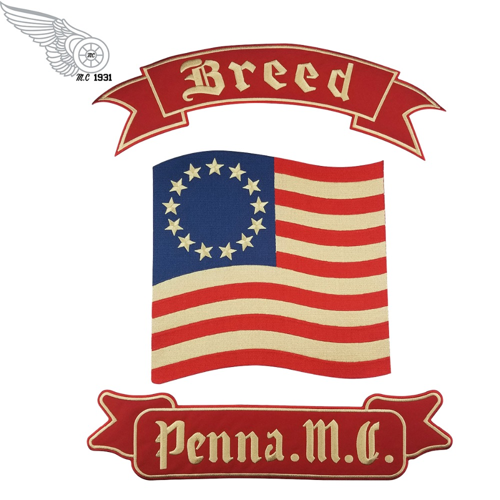 mc1931 Breed Penna. M.C Embroidered Full Back of Jacket Biker Patch Iron On Sew On Vest Jeans Applique Badge