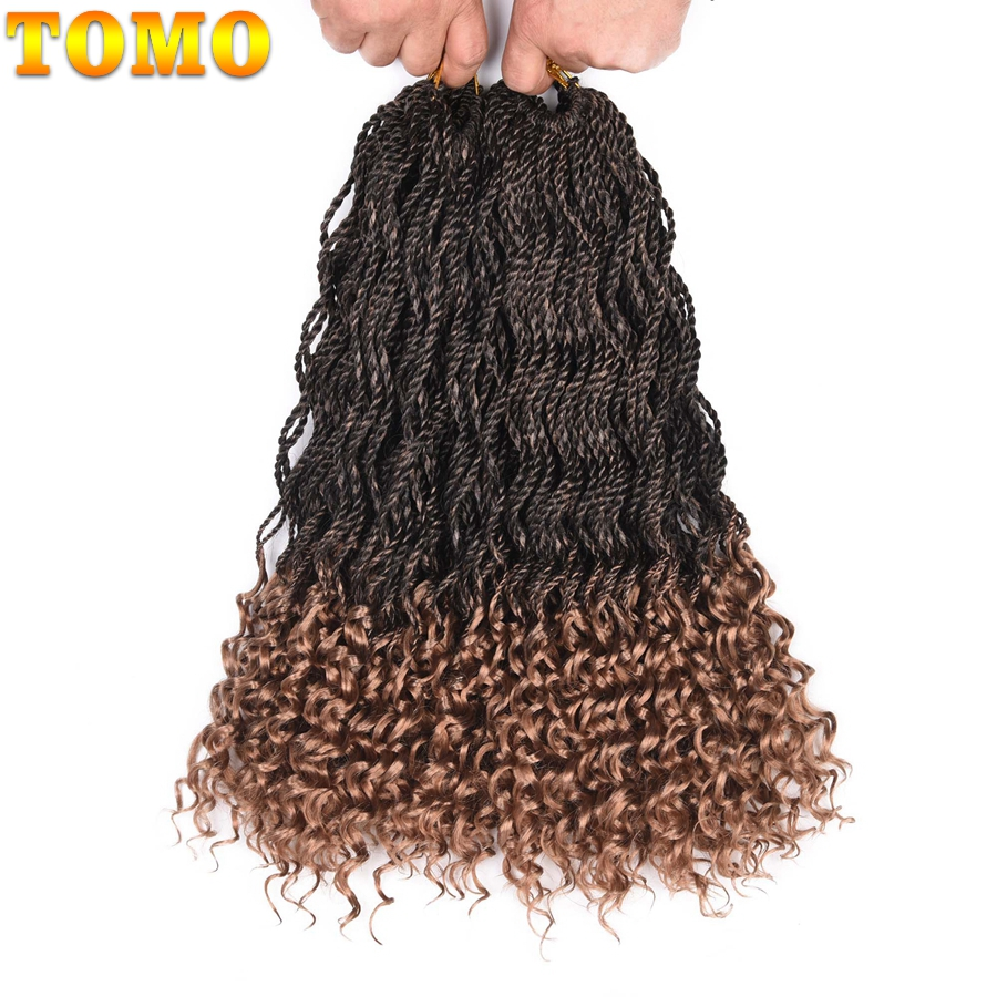 Tomo Curly Senegalese Twist 18 24 24strands/pack Synthetic Braiding Hair Ombre Kanekalon Crochet Braids Hair Extensions Home