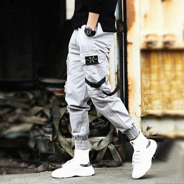 ABOORUN Men's Hip Hop Joggers Fashion Camou Cargo Pants Ins Paratrooper Long Harem Trousers for Male Y3005
