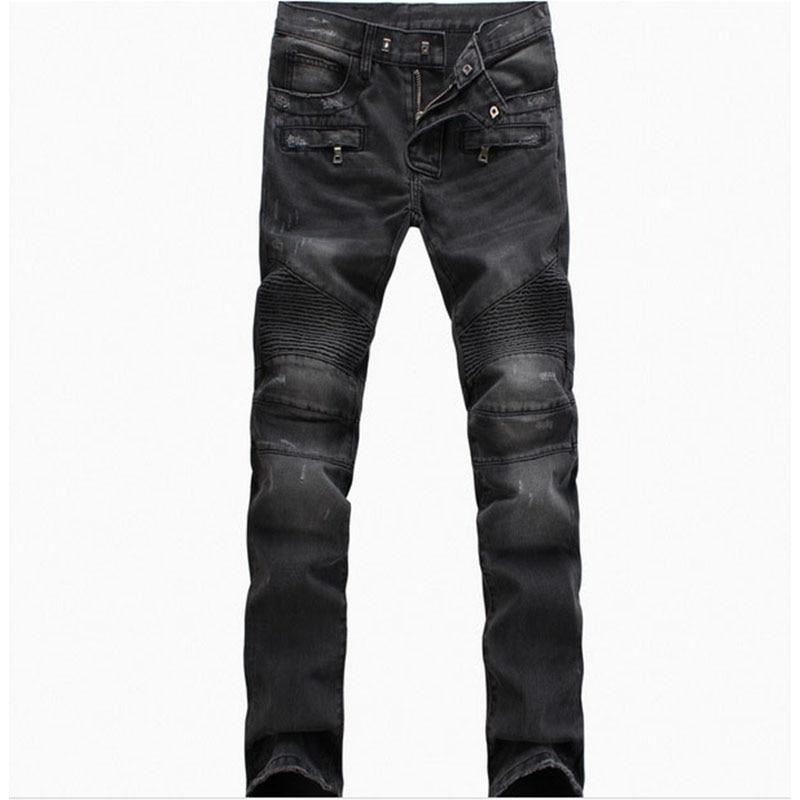 High Quality Men's Distressed Biker Jeans Mens Designer Fashion Denim Trousers Casual Slim Fit Ripped Jenas Pants For Men 2017 fashion patch jeans men slim straight denim jeans ripped trousers new famous brand biker jeans logo mens zipper jeans 604