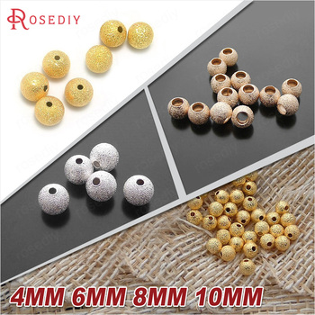 100PCS 4MM 6MM 8MM 10MM Silver Color and Gold Color Brass Metal Round Beads Matte beads Handmade Jewelry Findings Accessories image