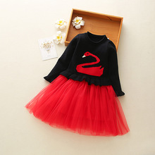 Girls Dress Cotton Children Cartoon Cardigan Long Sleeve Princess Kids Casual Lace Vestidos