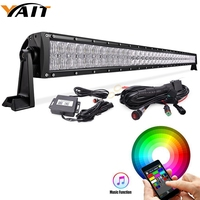 Yait 50 5D 288W RGB LED Light Bar Spot Combo Lamp Bluetooth App & Wiring Harness Control Color Changing Led Warning Light