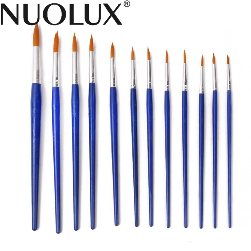 Nylon Hair Paint Brushes - Set of 12