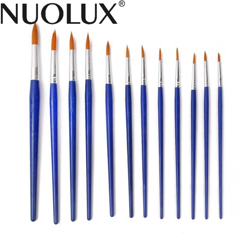 Nylon Hair Paint Brushes - Set of 12