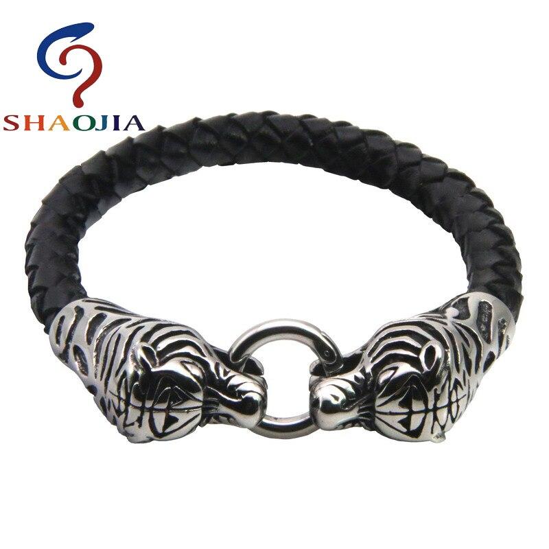 SHAOJIA Trendy Genuine Leather Bracelet Stainless Steel Tiger Head Cuff Bracelets For Women Weaving Leather Bracelet Men Jewelry
