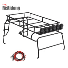 1/10 RC Metal Roof Rack And with LED Lights for AXial SCX10 D90 Crawler Luggage Tray Climbing Car