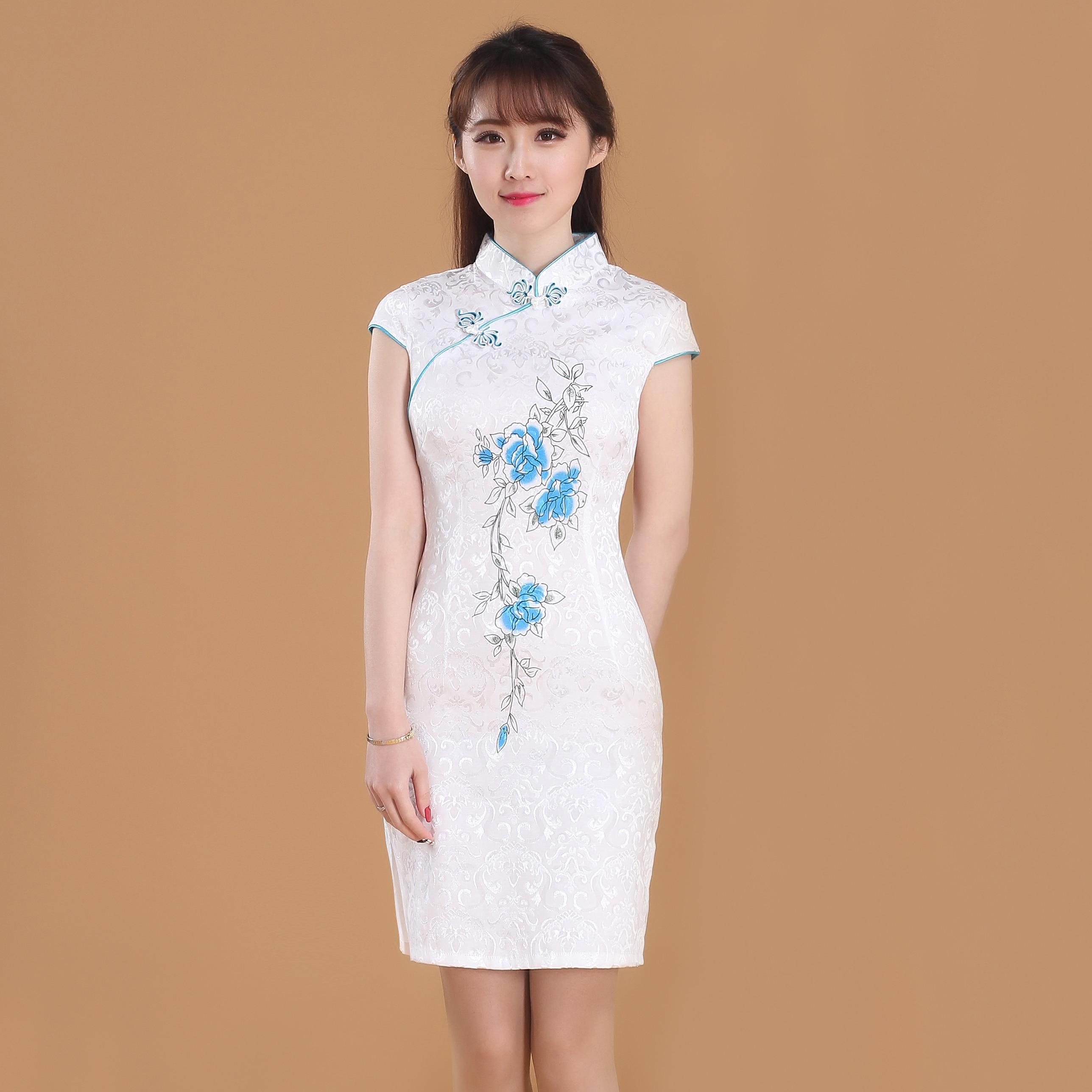 2017 Лето Высокая мода китайских женщин традиционное платье Классические Сатиновые Qipao короткие Cheongsam винтажные воротник-стойка
