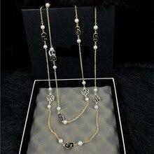 XL23 CC joyería de lujo famosa marca a largo perla colares collier sin cuello de la flor de La Camelia collares collares mujer perle de wom