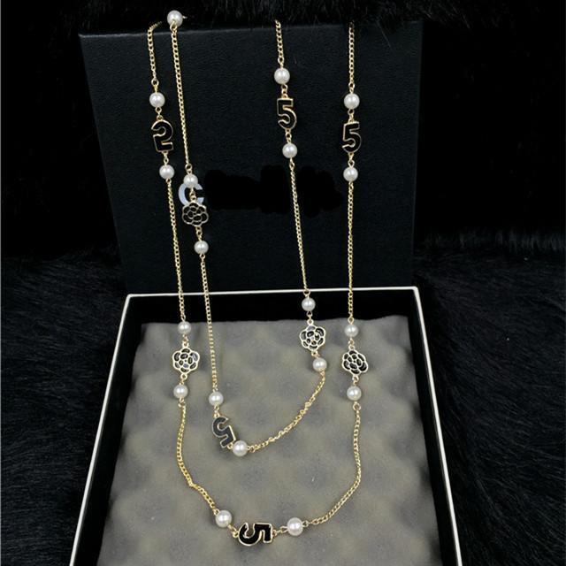 XL23 luxo famosa marca de jóias CC longo colar de pérolas colares collier perle flor Camélia neckless colares collares mujer para wom