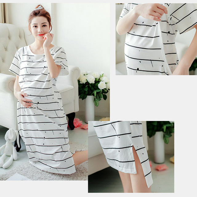Летние Для женщин Ночная рубашка Средства ухода за кожей для будущих мам кормящих платье в полоску для беременных Для женщин Ночная рубашка кормящие Беременность одежда