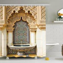 Cortina de ducha de decoración marroquí, diseño de edificio Vintage, tela de poliéster, conjunto de cortina de ducha de baño con ganchos