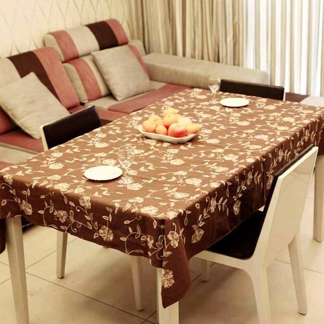 Thickening fashion beige rustic flower handmade embroidered fabric linen tablecloth coffee table dining table cloth