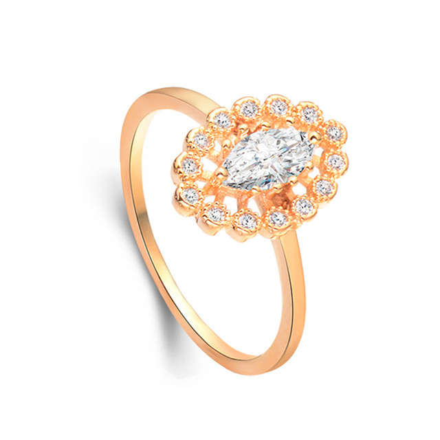 SHUANGR Fashion Austrian Crystal Gold Color Ring for Women Costume