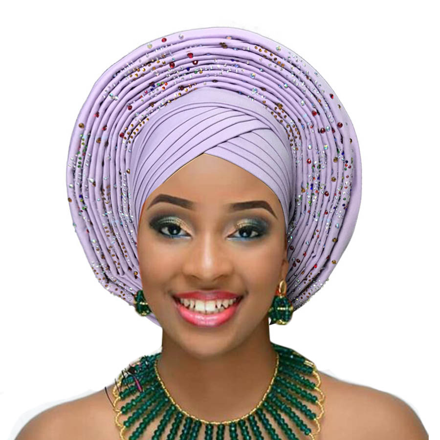 Woman auto gele african headtie wedding headwraps already made turban aso oke gele (6)