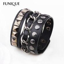 Hip-hop Biker Men Wrap Bracelet Rivet Black Leather Bracelet & Bangles Button Clasp for Women Bracelet Fashion Jewelry