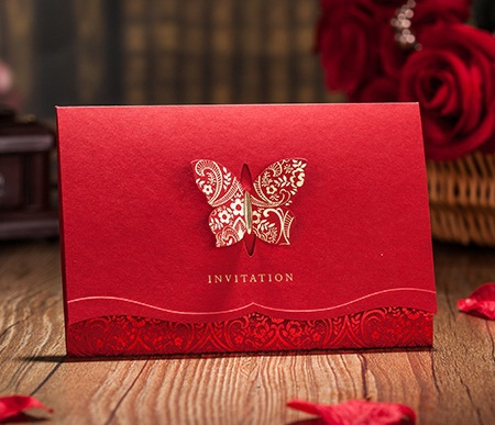 3d butterfly design red wedding invitation cardred invitaion with 3d butterfly design red wedding invitation cardred invitaion with laser cut professional design and print invitation cards in cards invitations from stopboris