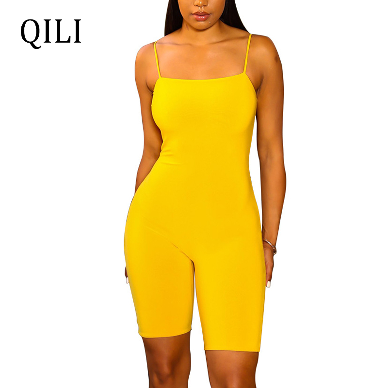 QILI Women Strap Solid Color Jumpsuits Rompers Skinny Casual Playsuits Summer Womens Sleeveless Jumpsuit Fitness Rompers S-XXL