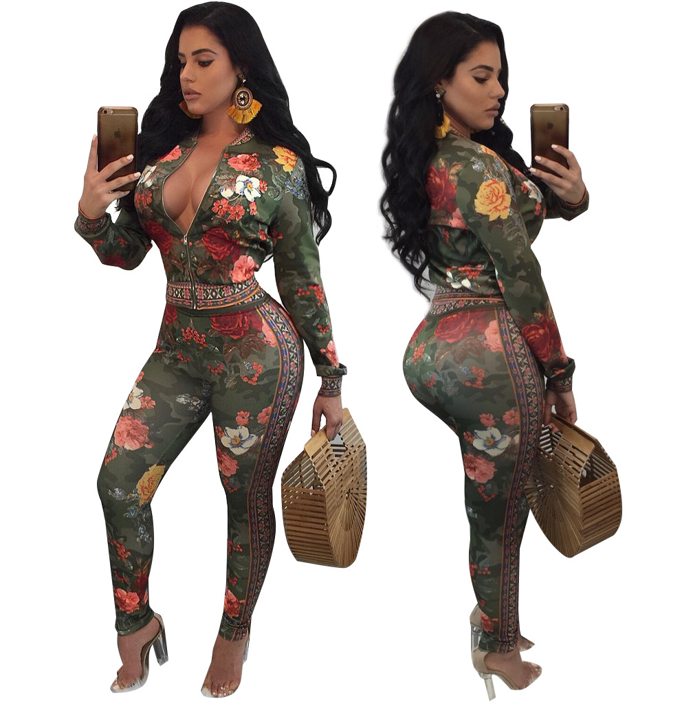 Vintage Floral Print 2 Piece Set Blazer Jumpsuit Winter Stand Collar Top And Long Skinny Coveralls Women Zipper Up Club Romper