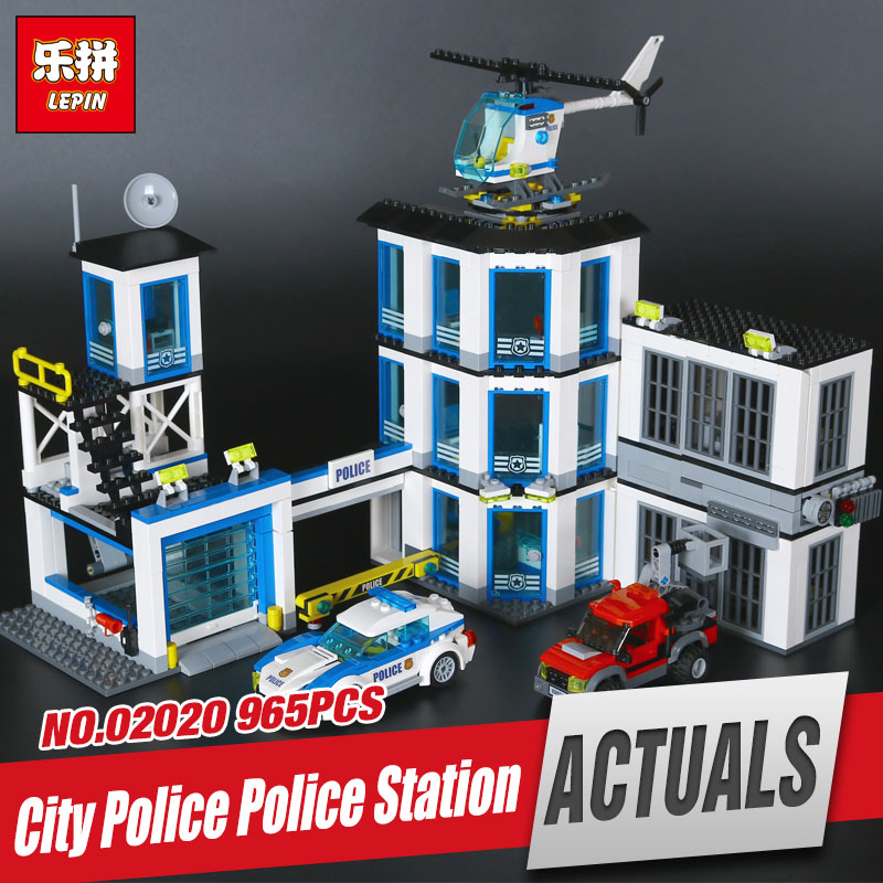 Lepin 02020 965Pcs City Series The New Police Station Set children Educational Building Blocks Bricks Boy Toys Model Gift 60141 police station swat hotel police doll military series 3d model building blocks construction eductional bricks building block set